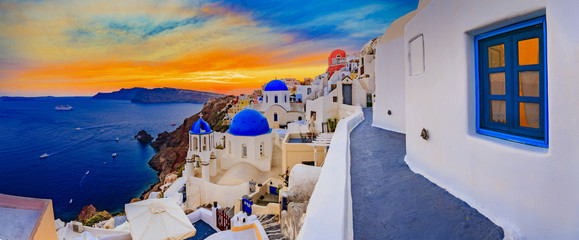 Aluminium Prints Santorini Amazing wide panorama sunset view with white houses on church wi