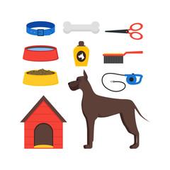 Cartoon Dog Equipment Set. Vector