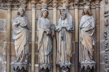 Facade decoration of the Reins Cathedral, France
