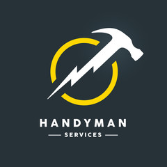 Concept handyman services logo with white abstract hammer flash tool in yellow circle icon on dark cool grey background. Vector illustration.
