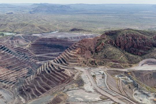 Aerial view of the Argyle Diamond mine, Kimberley, Western Australia