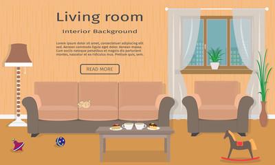 Living room interior web design banner  including a sofa, armcha