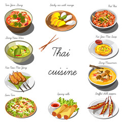 Thai cuisine set. Collection of food dishes