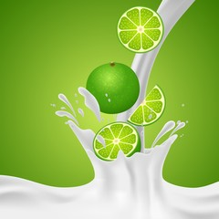 Colorful fresh fruits falling into the milky splash banner. Vector illustration