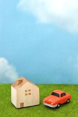 家と車 青空 ミニチュア