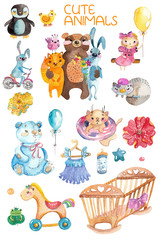 Cute watercolor animals and different elements