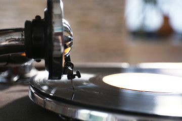 Old gramophone player, closeup