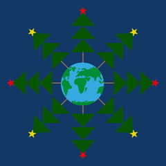 Snowflake Christmas Trees around the Earth. Dark blue background vector. Abstract snowflake Planet.