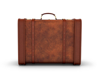 Old leather suitcase. Retro suitcase on a white background. 3D i