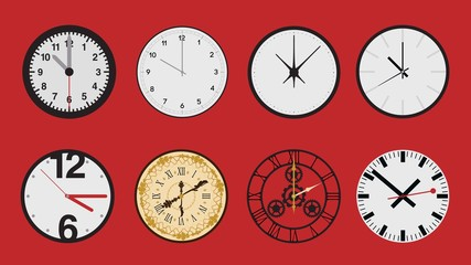 Set of different clock faces icon