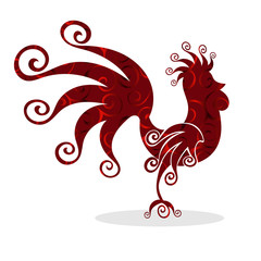 Cock red Vintage fabulous silhouette pattern bird