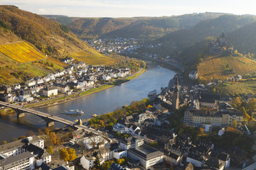 View over Cochem and the Mosel River in autumn, Cochem, Rheinland-Pfalz (Rhineland-Palatinate), Germany, Europe