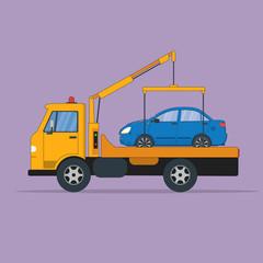 Broken car evacuation. Tow truck or evacuator with car.
