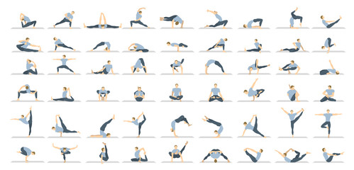 Yoga poses seton white background. Relax and meditate. Healthy lifestyle. Balance training. Wall mural