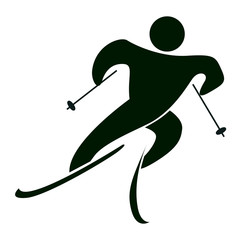 Isolated ski icon on white. Black figure of an athlet on white background. Person with sticks and ski.