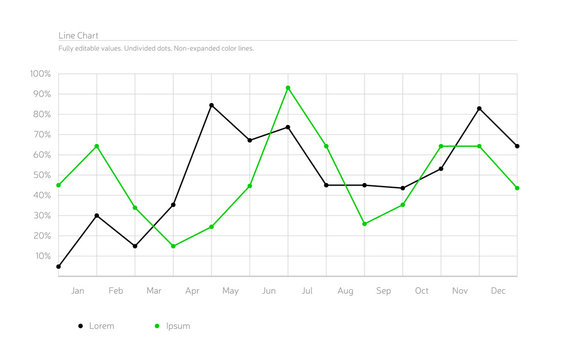 Simple Infographic Line Chart - Black, Green