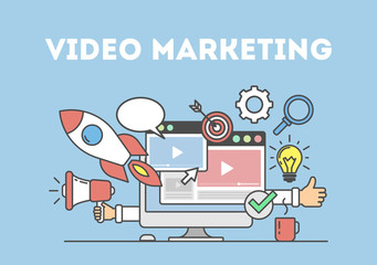 Video marketing concept poster. Digital design. Social network and media communication.