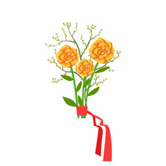 Orange Roses Flower Bouquet Tied With Red Ribbon, Flower Shop Decorative Plants Assortment Item Cartoon Vector Illustration