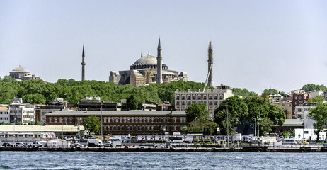 The historical center of Istanbul and a Hagia Sophia.