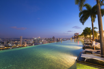 Infinity pool of the Marina Bay Sands, Singapore, Southeast Asia, Asia