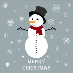 Snowman with red scarf on a grey background