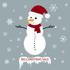 Snowman with Christmas sale tag on a grey background