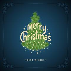 Wishing You A Merry Christmas. Christmas Tree with snowflakes on blue background. Greeting card, invitation, brochure, flyer design and retro ornament decoration. Vector illustration