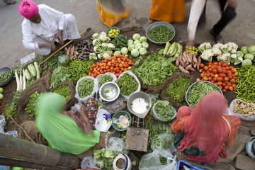 Vegetable Market, Jaisalmer, Western Rajasthan, India, Asia