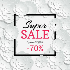 Wall Mural - Spring sale banner with vector 3d paper cut flowers and black frame
