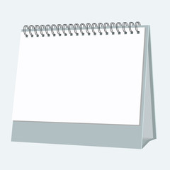 Blank desktop calendar. Realistic but flat color style design. Isolated vector mock up.