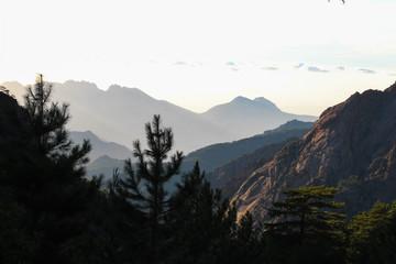 Mountain landscape at sunrise, Corse, France.