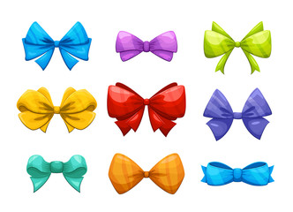 Cartoon gift bow with ribbon vector set for christmas cards