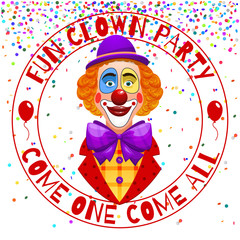 Fun clowns party invitation. Funny happy laughing clown with hat and nose vector illustration