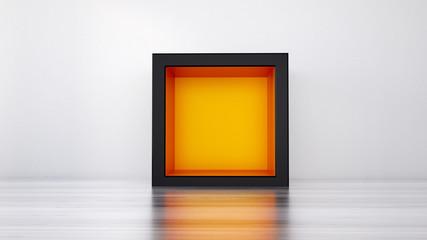 The cube's interior.3D illustration, 3D rendering.
