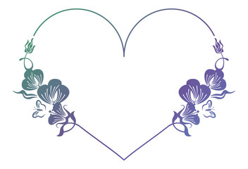 Beautiful heart-shaped floral frame with gradient fill.