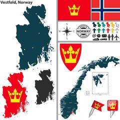 Map of Vestfold, Norway