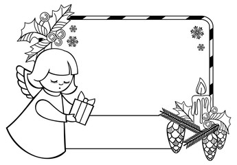 Black and white Christmas frame with cute angels. Copy space.