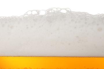 Light beer bubbles closeup