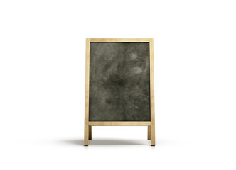 Blank outdoor chalkboard stand mockup, isolated, front view, 3d rendering. Clear street signage with blackboard mock up. A-board with wooden frame template. Bar or restaurant welcome easel.