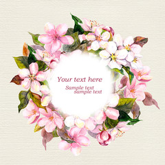 Retro floral wreath with pink flowers - apple, cherry blossom for greeting card. Watercolour