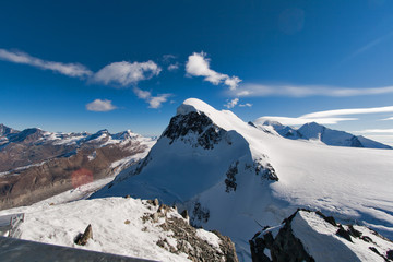 Poster Volcano Landscape of swiss Alps and mount Breithorn, Canton of Valais, Switzerland