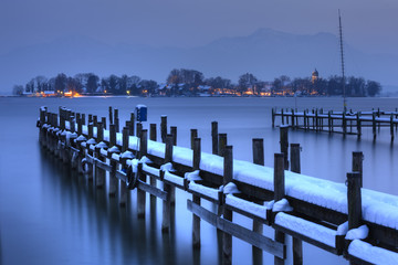 View of Frauen Island from the shore of Lake Chiemsee, Bavaria, Germany, Europe