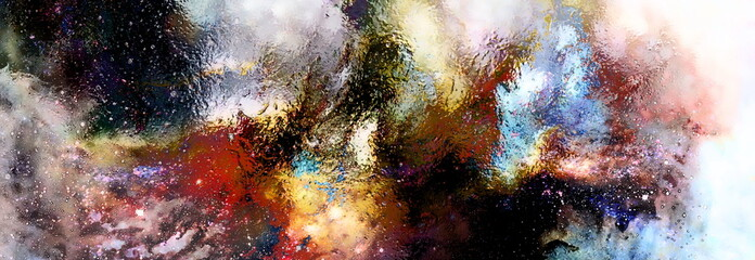 Cosmic space and stars, cosmic abstract background and glass effect.