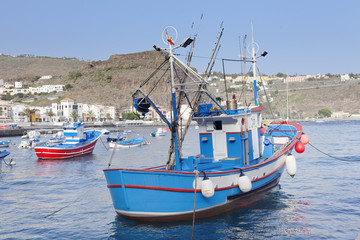 Fishing boats at the harbour, Playa de Santiago, La Gomera, Canary Islands, Spain, Atlantic, Europe
