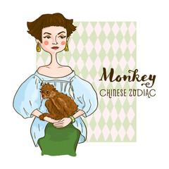 Beautiful girl with monkey.