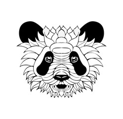Zentangle Ornate Panda. Tattoo sketch Vector Illustration. Isolated on White Background. Panda Head Print