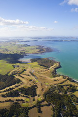 Aerial view over the Bay of Islands, Northland, North Island, New Zealand, Pacific