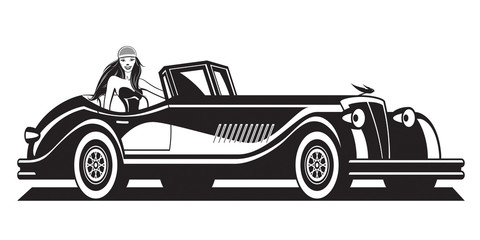Fashion model and classic car - vector illustration