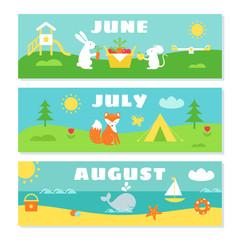 Summer Months Calendar Flashcards Set. Nature, Holidays and Symbols Illustrations