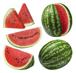 Watermelon pieces set isolated on white background